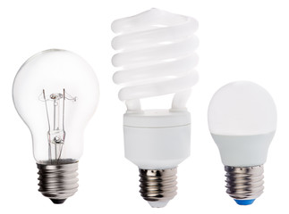 three generation of electric lamps isolated on white