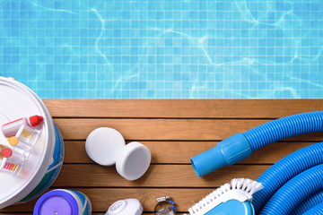 Chemical products and tools for pool maintenance Wall mural