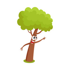 Funny tree character showing, pointing to something with finger, cartoon vector illustration isolated on white background. Funny tree character, mascot with smiling human face pointing to something