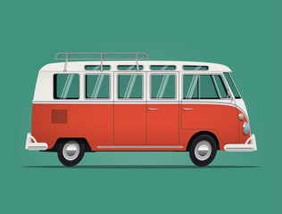 Vintage classic bus. Cartoon styled vector illustration.