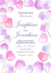 Wedding invitation with floral background. Hand drawn flowers wi