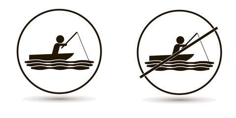 Vector man swims in the sea or river and catches fish. Set of icons