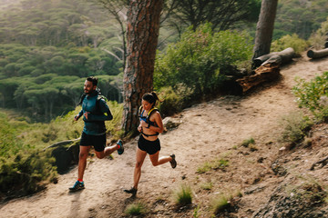 Young couple doing trail running workout Wall mural