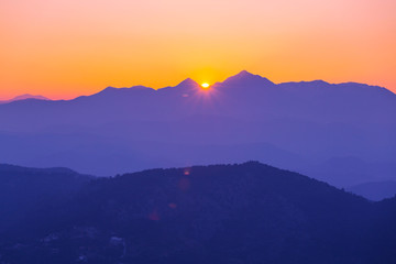 Mountains in sunrise