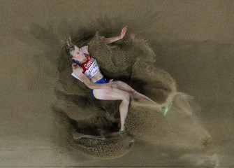Kucherenko of Russia competes during the women's long jump qualifying event at the IAAF World Athletics Championships in Daegu