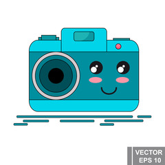Cartoon photo camera in blue. Modern technologies. Icon isolated on white background.