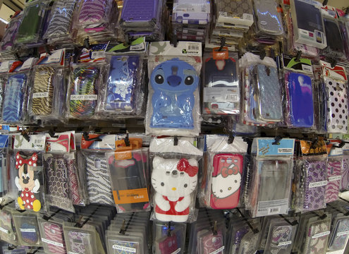 Assorted cell phone covers and designs are shown for sale at a shopping mall in Carlsbad, California