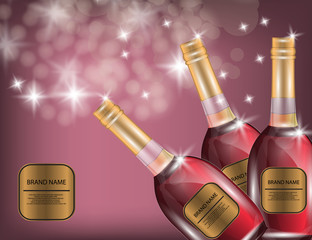 Alcohol, Red Wine, White Wine Bottles on the Sparkling Background for Your Design.
