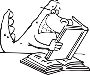 Black and white illustration of a dinosaur reading a book.