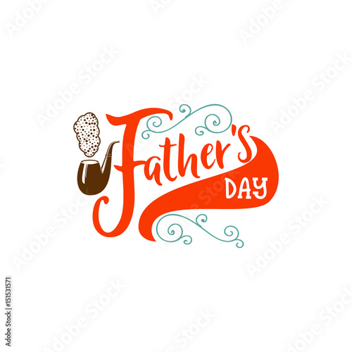 Father's Day badge design . Sticker, stamp, logo - handmade. With ...