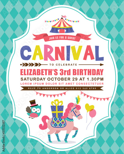 Kids birthday invitation card with circus theme stock image and kids birthday invitation card with circus theme stopboris Choice Image