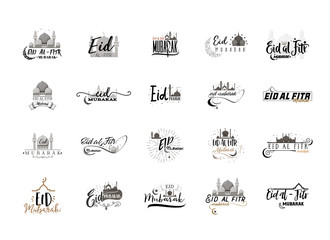 Eid Mubarak badge design . Sticker, stamp, - handmade. With the use of typography elements, calligraphy and lettering. Banner for a website or blog.