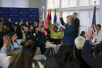 Democratic U.S. presidential candidate Hillary Clinton takes questions during student town hall during a campaign stop at the New England College in Henniker, New Hampshire