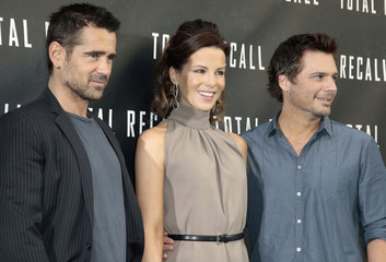 Farrell, Beckinsale and Wiseman pose at the photo call for the film Total Recall in Beverly Hills, California