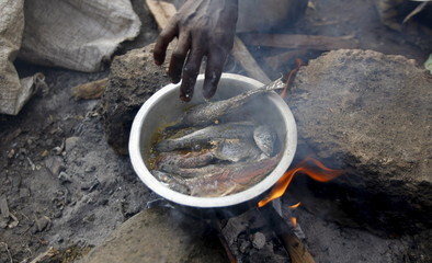 Burundian refugee cooks a meal on the shores of Lake Tanganyika in Kagunga village in Kigoma region in western Tanzania