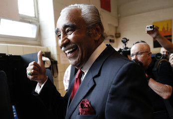 U.S. Representative Charles Rangel, who is running for a 23rd term in Congress, reacts after casting his vote in the Democratic Primary election in New York