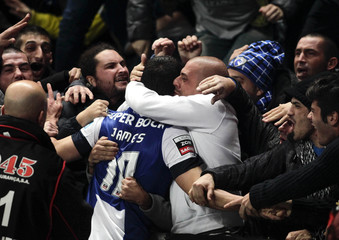 Porto's Rodriguez celebrates his goal against Braga wiht their fans during their Portuguese Premier League soccer match at the municipal stadium in Braga