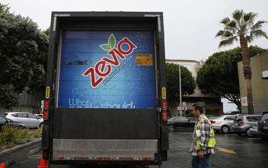 A Zevia truck is seen outside a supermarket in Los Angeles