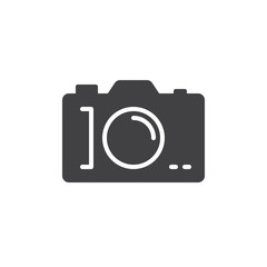Photo camera icon vector, filled flat sign, glyph style pictogram isolated on white. Symbol, logo illustration. Pixel perfect