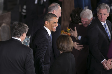 U.S. President Barack Obama smiles during the Inaugural luncheon in Washington