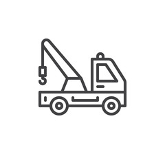Tow truck line icon, outline vector sign, linear style pictogram isolated on white. Symbol, logo illustration. Editable stroke. Pixel perfect
