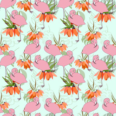 Floral vector seamless pattern with lilies - Kaiser's crown flowers , tropical palm leaves and flamingo birds