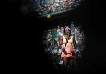 Serena Williams of the US reacts during her women's semi-final match against Timea Bacsinszky of Switzerland at the French Open tennis tournament at the Roland Garros stadium in Paris