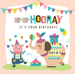 Birthday card with cute little pig and elephant