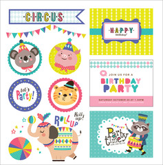 Set of birthday card and design elements with circus theme