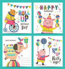 Set of birthday card with circus cartoon animals