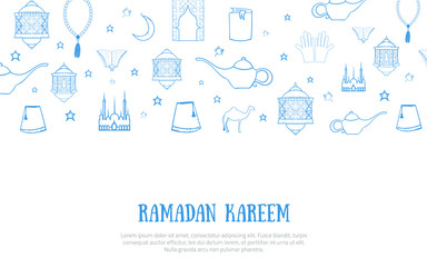 Printable blue minimalistic Ramadan Kareem greeting card vector illustration with sketch lantern, palace, moon