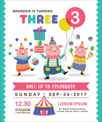 Kids birthday party invitation card with three cute little pigs