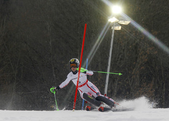 Zettel of Austria leans into a gate during the women's slalom race at the Alpine Skiing World Championships in Garmisch-Partenkirchen