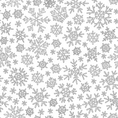 Seamless pattern with winter Christmas snowflakes.
