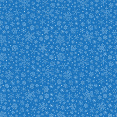 Seamless blue pattern with snowflakes