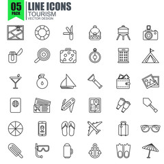 Simple set of tourism line icons