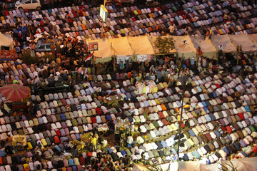 Supporters of Egyptian President Mohamed Mursi perform prayers as they attend a rally to show support to him at the Raba El-Adwyia mosque square in Cairo