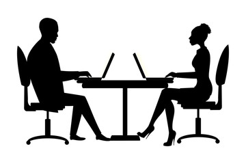Office workers or business people silhouette sitting at the table.