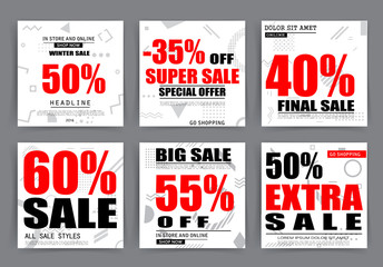 Sale banner templates, posters, email and newsletter designs. Set of season sale templates