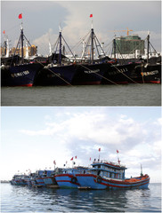 A combination photo shows fishing boats anchored at ports in Dongfang, China and Ly Son island, Vietnam