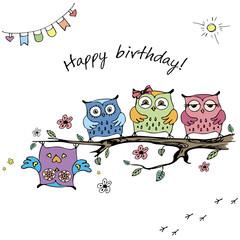 Hand drawn cute owls,happy birthday card,
