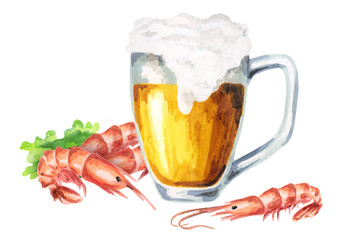 Beer and shrimps. Watercolor composition