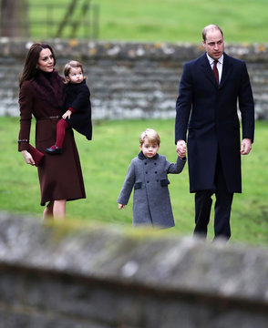 The Duke and Duchess of Cambridge and the family of the Duchess attend a Christmas Day service near Bucklebury in southern England, Britain