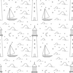 Lighthouse, sea, sailboat, moonlight night.vector illustration.