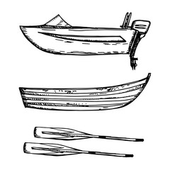 Motor boat and wooden with paddles vector illustration