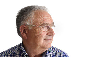 Senior man on white background