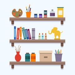 Shelves with art equipment