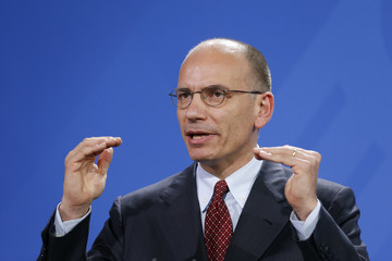 Italian Prime Minister Letta gestures during news conference in Berlin