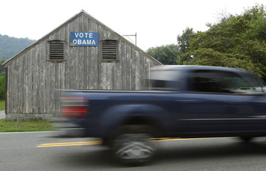 A small barn displays a Vote Obama sign in rural Burkittsville Maryland