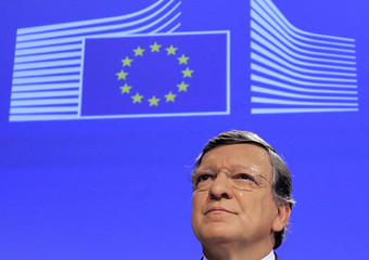 European Commission President Barroso makes a speech after the EU won the Nobel Peace Prize in Brussels